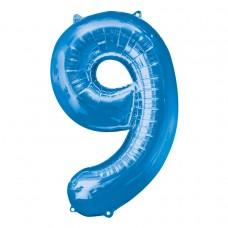 Number 9 Blue Supershape Foil Balloon