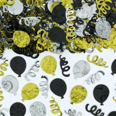 Black, Silver & Gold Balloons Confetti
