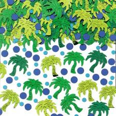 Hawaiian Themed Palm Tree Embossed Metallic Confetti