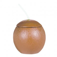 CUP COCONUT SHAPED WITH STRAW