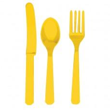 CUTLERY ASST pk24:yellow ss