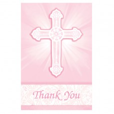 Radiant Cross Pink Thank You Cards