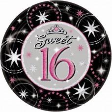 Sweet 16 Sparkle Paper Plates 22.8cm