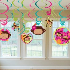 Monkey Love Hanging Swirls