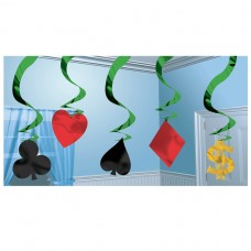 Casino Party Hanging Swirl Decorations