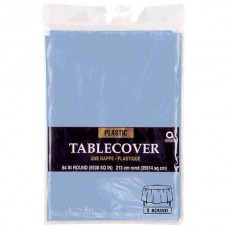 Pastel Blue Tablecover - Plastic Round
