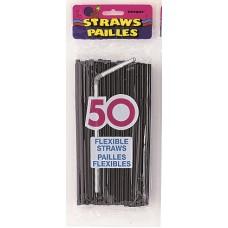 50  Midnight Black Designer Flex Straws