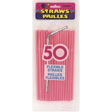 50  Hot Pink Designer Flex Straws
