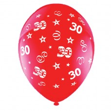 BALLOON 28cm:B'DAY 30-Red