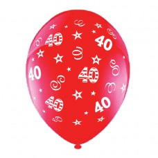 BALLOON 28cm:B'DAY 40-Red