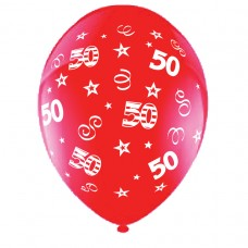 BALLOON 28cm:B'DAY 50-Red