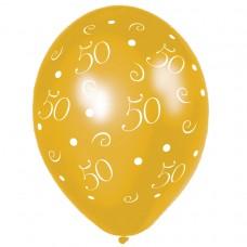 BALLOON 28cm:ANNIV 50-Gold