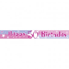 Pink Shimmer 50th Birthday Banner