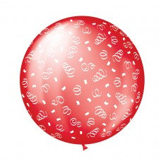 BALLOON 1m cele:SWIRLS red