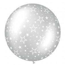 BALLOON 1m met:STARS silver