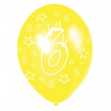 Happy 6th Birthday Latex Balloons Disc