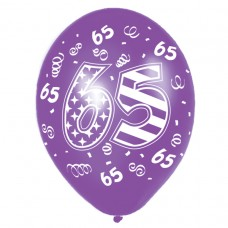Happy 65th Birthday Latex Balloons