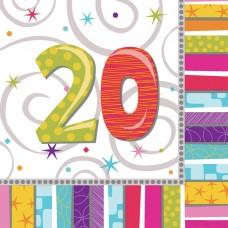 Radiant Birthday 20 Luncheon Napkins