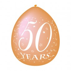 50 Years Gold Latex Balloons