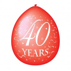 40 Years Red Latex Balloons