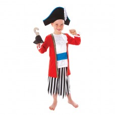 Capt Pirate Outfit + Hat+hook 6-8yrs
