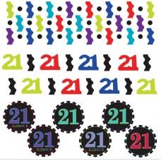 21st Chevron Confetti