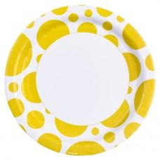 8 plates, Sunshine Yellow Dots