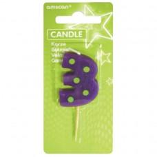 Candle num. 3 Dots + Stripes