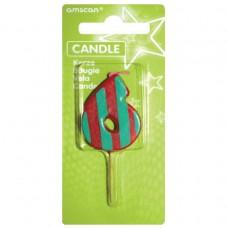 Candle num. 6 Dots + Stripes
