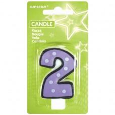 Candle num. 2 Dots w. black b.