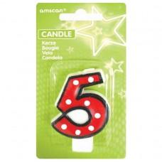 Candle num. 5 Dots w. black b.