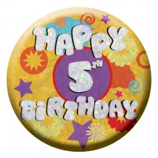 Badge Sml HoloG Happy 5th BD