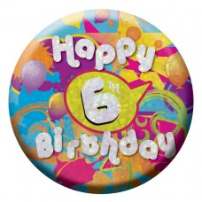 Badge Sml HoloG Happy 6th BD