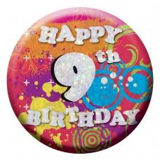 Badge Sml HoloG Happy 9th BD