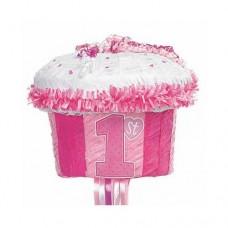PINATA pull:1ST CUPCAKE pink