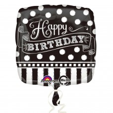 SD-SQ:Black & White Chalkboard Birthday