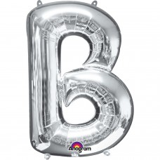 Letter B Supershape Silver Foil Balloon 34""