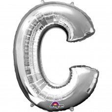 Letter C Supershape Silver Foil Balloon 34""
