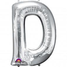 """Letter D Supershape Silver Foil Balloon 34"""""""