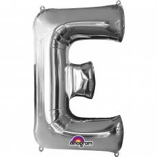 Letter E Supershape Silver Foil Balloon 34""