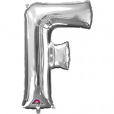 Letter F Supershape Silver Foil Balloon 34""