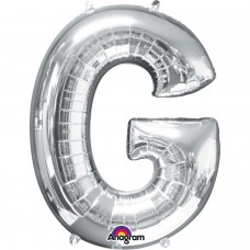 Letter G Supershape Silver Foil Balloon 34""