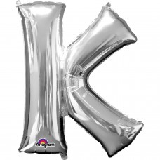 Letter K Supershape Silver Foil Balloon 34''