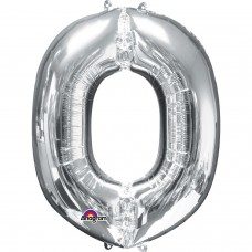 Letter O Supershape Silver Foil Balloon 34""