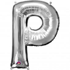 """Letter P Supershape Silver Foil Balloon 34"""""""