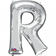 Letter R Supershape Silver Foil Balloon 34""