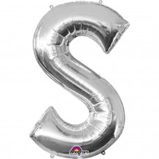 Letter S Supershape Silver Foil Balloon 34""