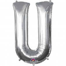 Letter U Supershape Silver Foil Balloon 34""