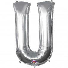 "Letter U Supershape Silver Foil Balloon 34"""