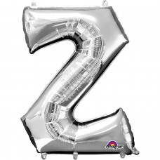 Letter Z Supershape Silver Foil Balloon 34""